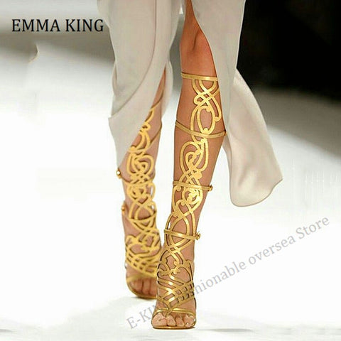 2020 Summer Women Golden Hollow Out Gladiator Sandals Open Toe Knee High Sandal Boot Patent Leather High Heel Golden Party Shoes