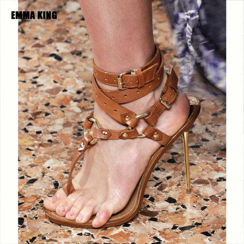 2021 New Rivet Metal Decoration High Heel Women Sandals Cover Heel For Party Gladiator Ladies Shoes Brown Size 35-44