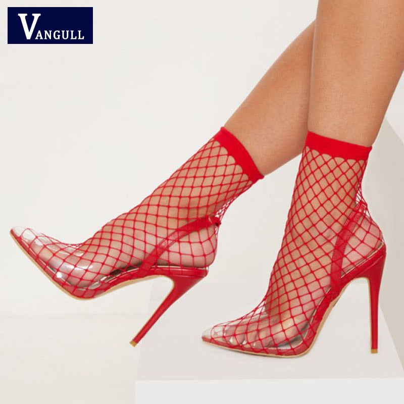 c1ad79d86cd VANGULL Women Pointed Toe Heels Summer Fishnet Sandals 2019 New Fashion  Mesh Holes Sexy Female Shoes Party High Heel Ankle Boots