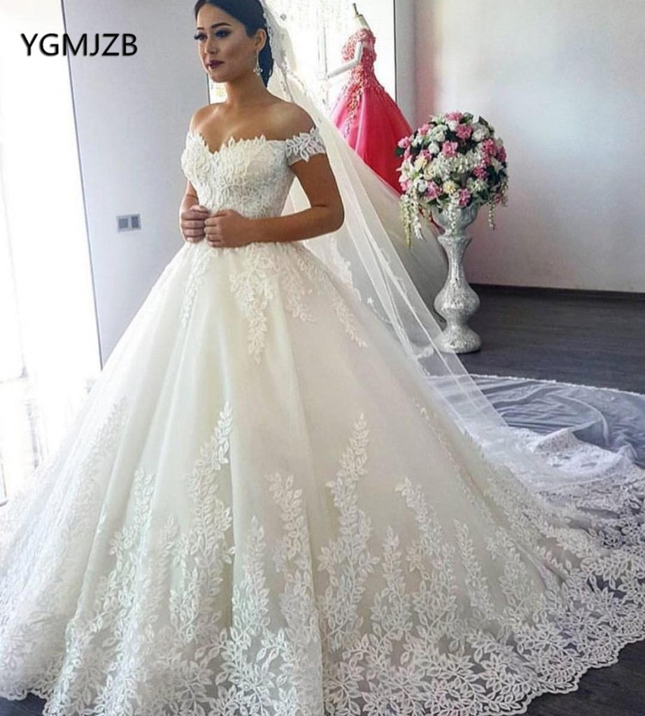 f654c0e009ab2 ... Princess Wedding Dresses Off Shoulder Applique Lace Sweetheart Puffy Ball  Gown Bridal. Hover to zoom