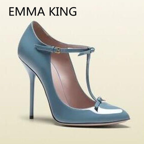 Vintage Elegant Mary Janes Pumps Women Pointed Toe Bow-Knot Designer Runway Shoes Woman Ankle Strap Solid Sexy Thin High Heels