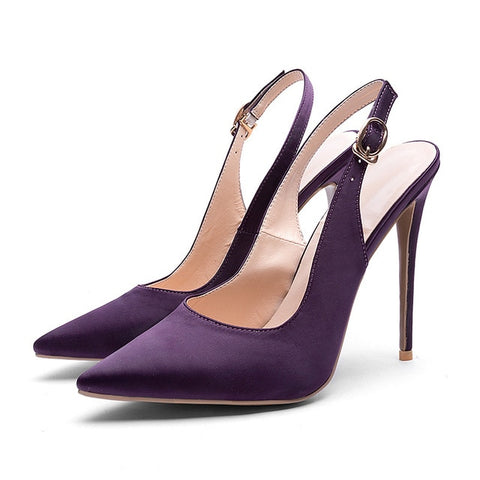 WETKISS Slingback High Heels Shoes Summer Women Pumps Pointed Toe Stiletto Footwear 2019 New Shoes Shallow Fashion Satin Pumps