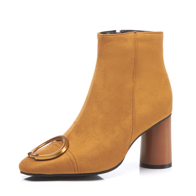 8b2c8d59aa8 WETKISS Thick High Heels Women Boot Square Toe Wood Flock Footwear Ankle  Zip Female Boots Shoes. Hover to zoom