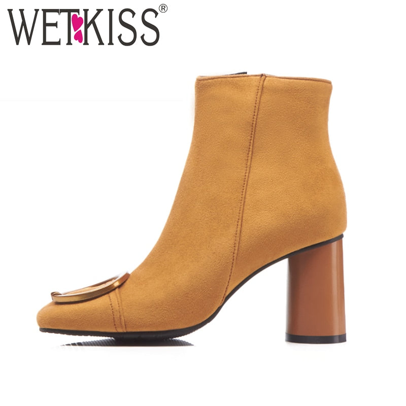45bdcab9200 WETKISS Thick High Heels Women Boot Square Toe Wood Flock Footwear Ankle  Zip Female Boots Shoes. Hover to zoom