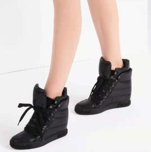 Winter New Fashion Ladies Increased Heel Casual Shoes Down Style Lace Up Women's Vulcanize Shoes Round Toe Black Shoes Size 41