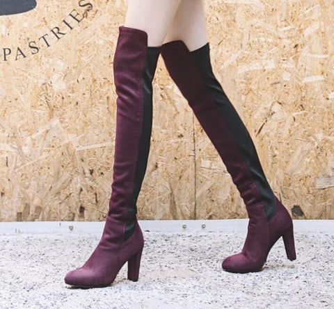 Winter Sexy Stretch Leather Patchwork Over the Knee Boots All Match Slim Thigh High Botte for Ladies Street Fashion Knight Boots