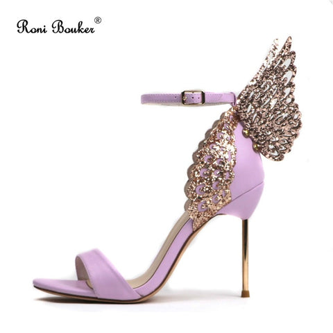 Image of Woman Fashion Wedding Party Shoes Attractive Butterfly Wings Peep Toes Buckle Strap Women Stilettos Heel Summer Female Sandals