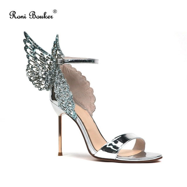 Woman Fashion Wedding Party Shoes Attractive Butterfly Wings Peep Toes Buckle Strap Women Stilettos Heel Summer Female Sandals