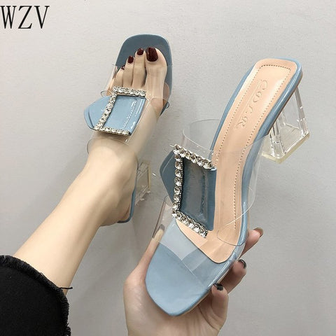 Woman Sandals 2019 Summer Fashion Slipper Rhinestone High-heeled Sandal Gladiator Transparent Womens Shoes Zapatos Mujer K170