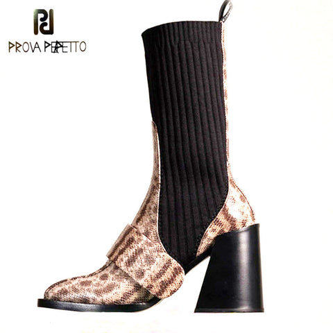 Women Ankle Boots Genuine Leather Patchwork Sock Shoes Woman High Heel Snake Leather Stretch Elastic Short Boots For Ladies 2020