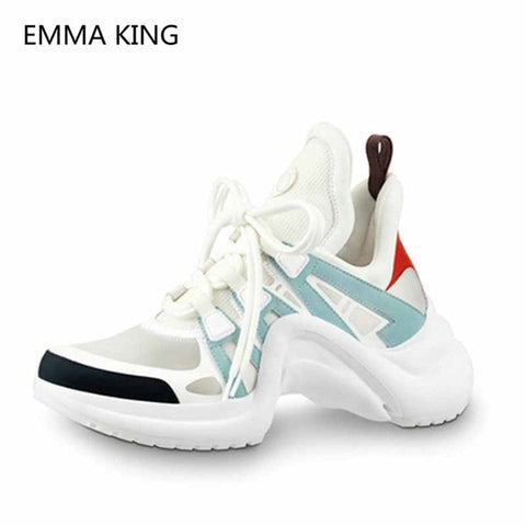 Image of Women Designer Platform Sneakers Lace Up Sport Running Casual Shoes Leather Lycra Flats Walking Trainers Women's Vulcanize Shoes