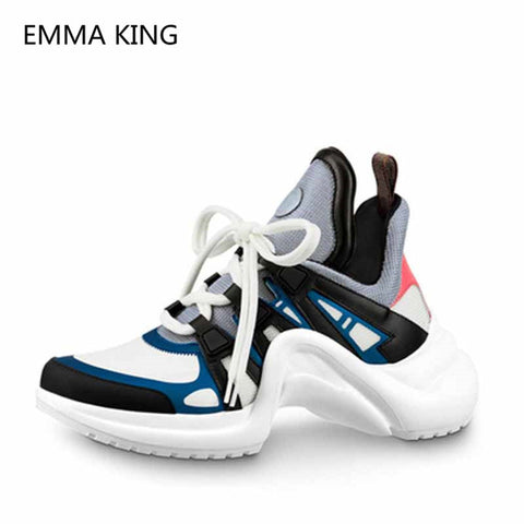 Women Designer Platform Sneakers Lace Up Sport Running Casual Shoes Leather Lycra Flats Walking Trainers Women's Vulcanize Shoes