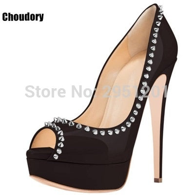 Women High Heel Pumps 2020 Studs Platform Heels Rivets Shoes Sexy Black High Heels Ladies Peep Toe Stilettos Ladies Pumps