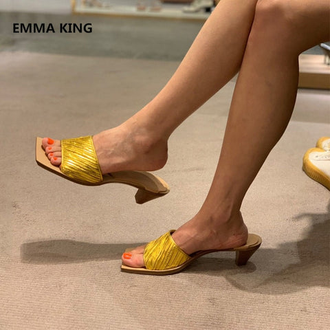 Women Square Toe Slippers Mules Shoes Fashion Open Toe Strange Heels Causal Female Slingback Shoes Summer Sexy Roman Slippers