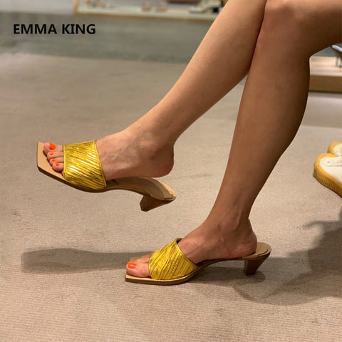 Image of Women Square Toe Slippers Mules Shoes Fashion Open Toe Strange Heels Causal Female Slingback Shoes Summer Sexy Roman Slippers