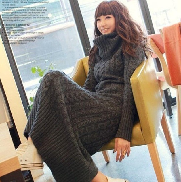 c24245100cf Hover to zoom · Women Winter Knit Dresses Europe Long Sleeve Turtleneck  Casual Slim Warm Maxi Sweater Dress Plus Size