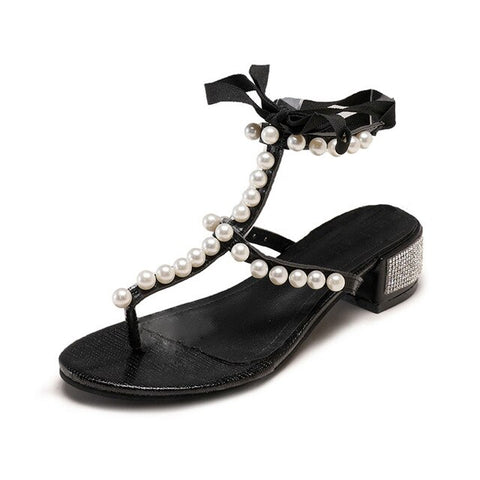 Image of Women's Sandals Pearl Rhinestone Clip Toe Sandals  Lace-Up High Heels Beach Shoe women flat sandals elegant#G35