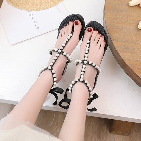 Women's Sandals Pearl Rhinestone Clip Toe Sandals  Lace-Up High Heels Beach Shoe women flat sandals elegant#G35