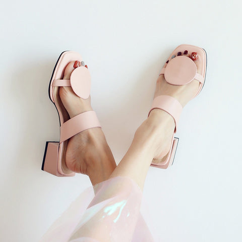 YMECHIC Genuine Leather Chunky Block Medium Heel Women Sandals Blue Pink Square Toe Circle Design Party Slides Lady Shoes 2018