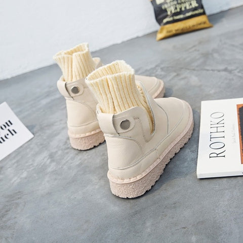 Image of black/white socks ankle woman rain boots women girls shoes winter snow boots ladies boot botines mujer 2018