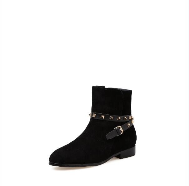 724dcdebe080 Hover to zoom · bottes femme rivet low heels ankle boots for women black  brown suede ladies shoes ...