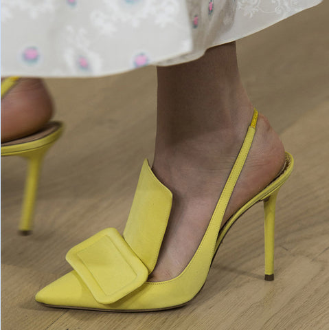 Image of luxury designers women shoes yellow rose red black silk upper slingbacks zapatos de mujer big sqaure buckle shoes woman runway