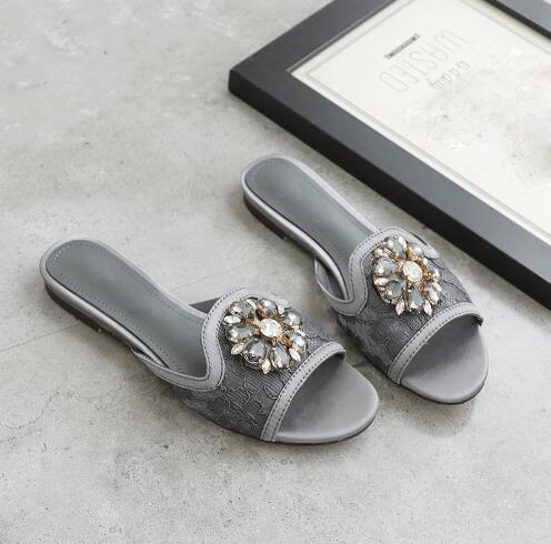 9079d84fdf8c Hover to zoom · newest summer slides crystal flower decor ladies flats  slippers Handmade sexy ...