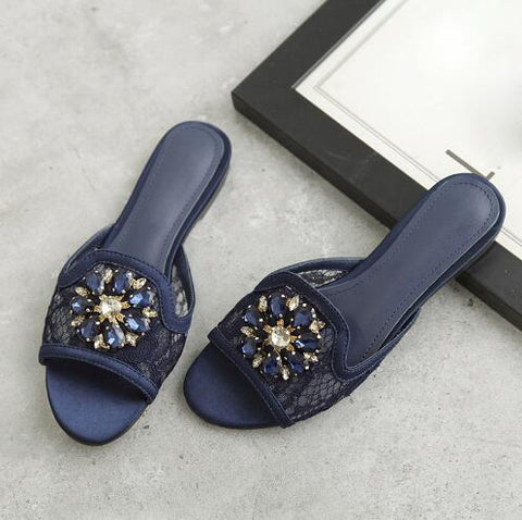 newest summer slides crystal flower decor ladies flats slippers Handmade sexy lace embroidered sandals peep toe home shoes women