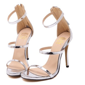 f68e21ee4 ... Image of Harmony Metallic Strappy Sandals Silver Gold Platform  Gladiator Sandals Women High Heels Shoes Summer