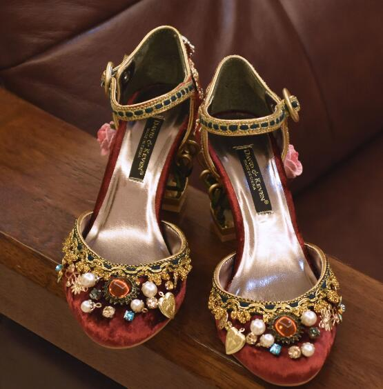 2017 Luxury Retro Velvet Mary Janes Pumps Gold Laciness Gems Party Wedding  Shoes Cut out Heel. Hover to zoom 6a46038df31a