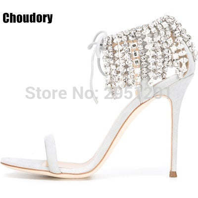 Image of Summer Bling Bling Women Gladiator Sandals Brand Suede Strappy High Heels Shoes Woman Lace Up Pumps Rhinestone Cover Heel Sandal