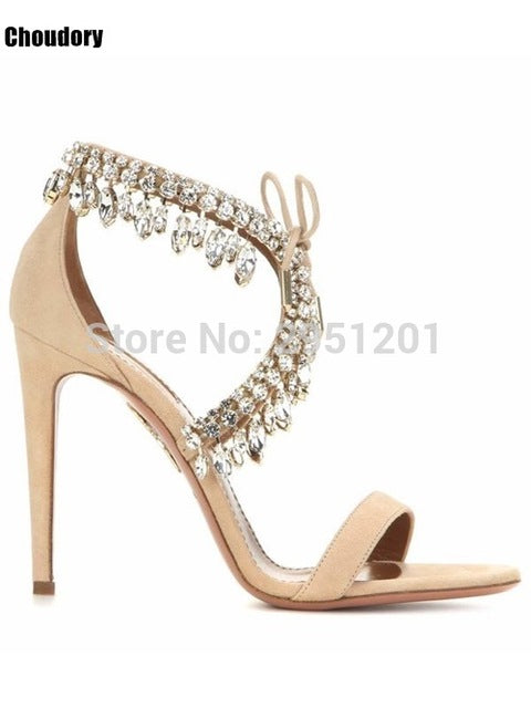 Summer Bling Bling Women Gladiator Sandals Brand Suede Strappy High Heels Shoes Woman Lace Up Pumps Rhinestone Cover Heel Sandal