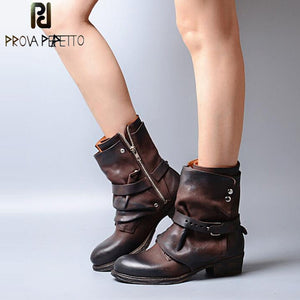 Prova Perfetto Women's Shoes Buckle Motorcycle Ankle Boots Chivalrousness Short Military Boots Genuine Leather Shoes Women Flats