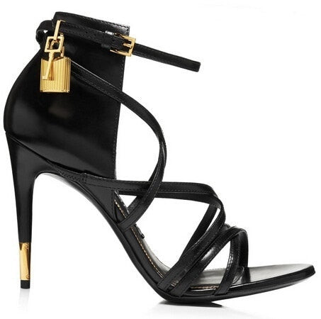 Image of Hot Sale Women Elegant Black Serpentine Leather Open Toe Cross Tied Buckle Strap Sandals Fashion Lock Decoration High Heel Pumps