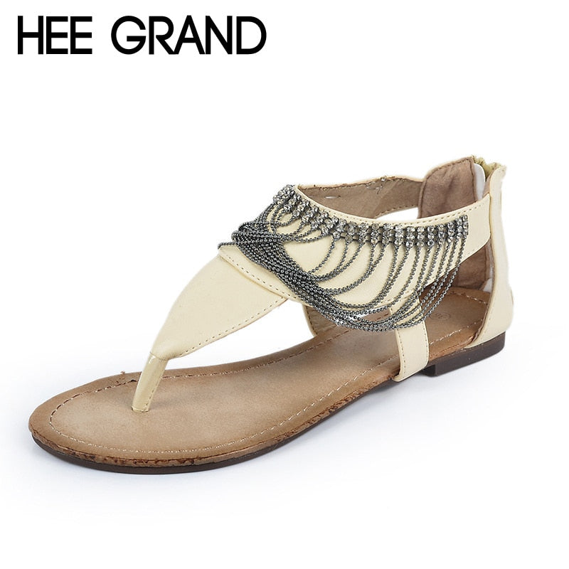 HEE GRAND Women's Sandals For 2018 New Flip Flops PU Leather Shoes Woman Flats Chains Sandals Summer Women Shoes XWZ3722