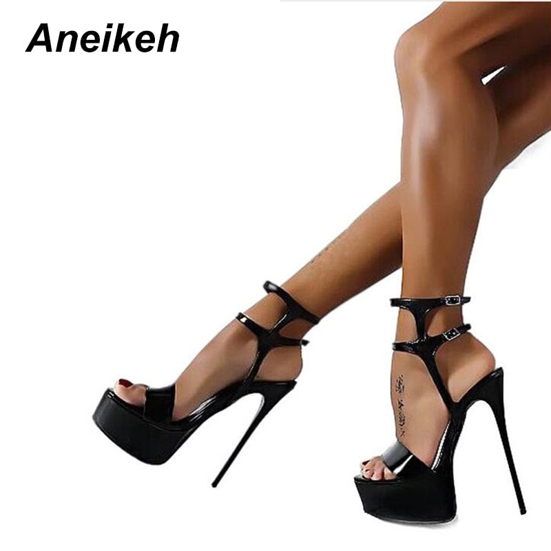 4004354b62 Aneikeh New 2018 Fashion Peep Toe High-heeled Sandals Sexy Open Toe 16CM  High Heels. Hover to zoom