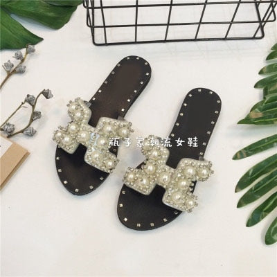 2017 Spring Summer High Top Crystal Rhinestone Solid Pearl Beach Flip-Flops New Slippers Bead Strappy Flats Roman Sandal Female