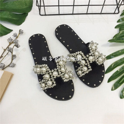 Image of 2017 Spring Summer High Top Crystal Rhinestone Solid Pearl Beach Flip-Flops New Slippers Bead Strappy Flats Roman Sandal Female