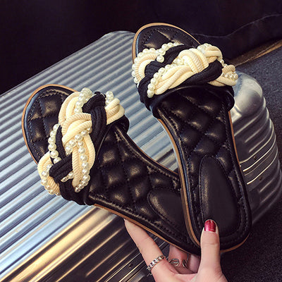 Image of 2017 Outsides Slippers Small New Female Slippers Black Pearl Twist Braided Open Toe Slippers Flat Crystal Heels Slide Fashion