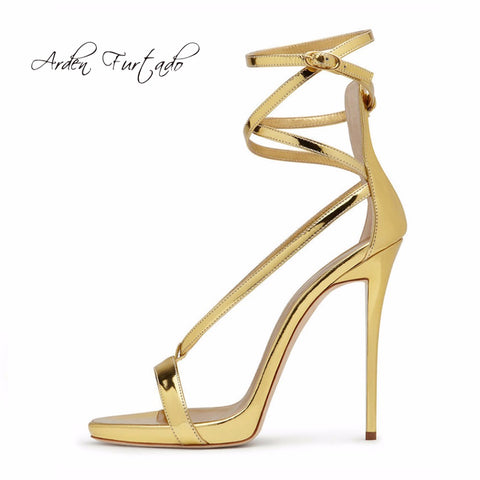 Image of Arden Furtado 2018 new summer high heels fashion shoes for woman buckle strap platform gold silver stilettos heels sandals 34-45