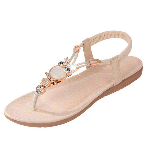Image of Hot Sale gladiator sandals women flat shoes woman sandalias Rhinestone Owl Sweet Sandals Clip Toe Summer Beach Shoes chaussures