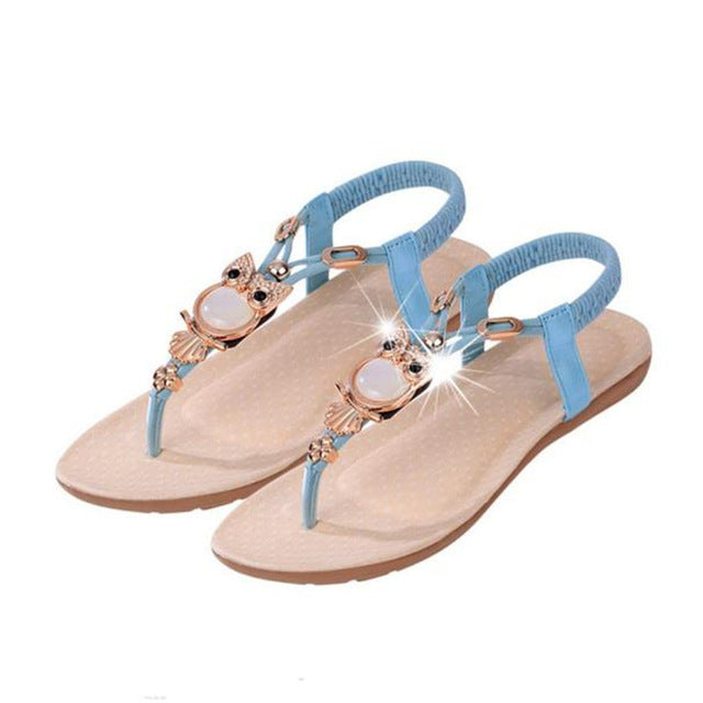 Hot Sale gladiator sandals women flat shoes woman sandalias Rhinestone Owl Sweet Sandals Clip Toe Summer Beach Shoes chaussures