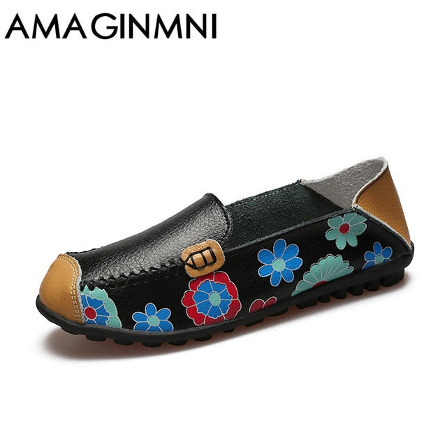 2018 Cow Muscle Ballet Summer Flower Print Women Genuine Leather Shoes Woman Flat Flexible Nurse Peas Loafer Flats Appliques New