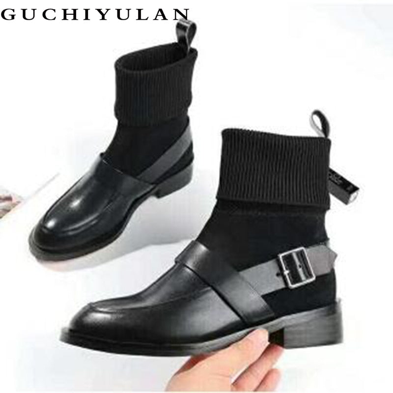 GUCHIYULAN 100% genuine leather women boots natural leather ankle boots fashion Pointed toe high heel ladies shoes for women