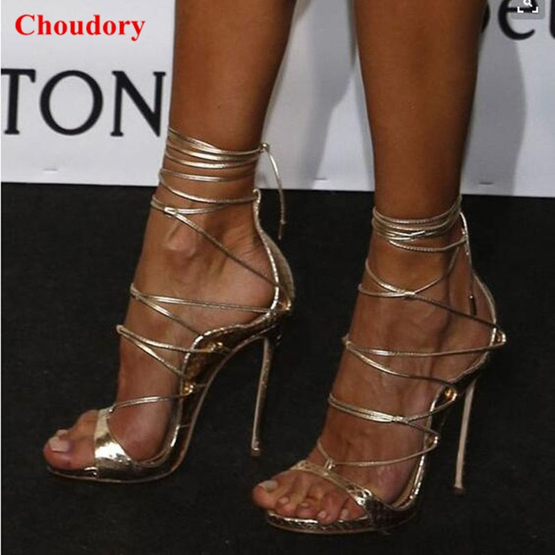 Thigh Sexy Style Open Celebrity Women Shoes Leather Riri Strappy Heels High Toe Cross Stiletto Sandals Tied Blackgold EHeIY29WbD