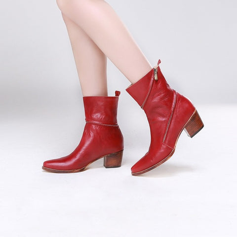Image of Akamatsu Red Leather Retro Chunky Heels Western Cowboy Boots Spring Autumn Shoes Encircle Design Zipper Mid Calf Women Boots
