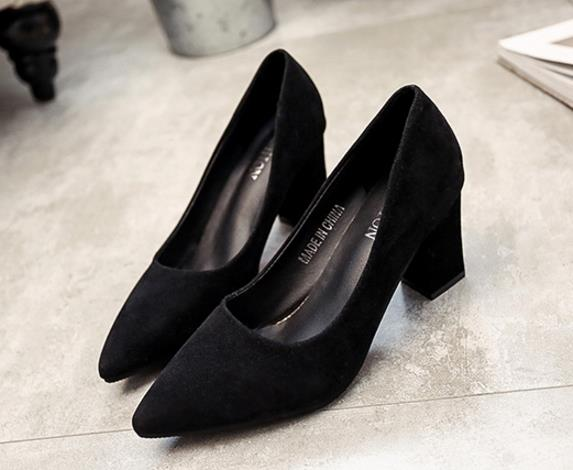 2018 autumn new Korean version of the pointed lady sexy high heels black with thick with wild single shoes women shoes s070
