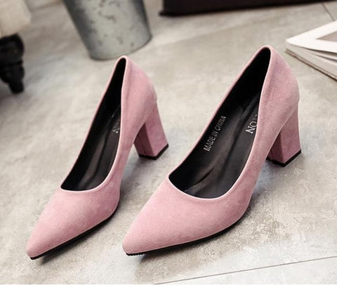 Image of 2018 autumn new Korean version of the pointed lady sexy high heels black with thick with wild single shoes women shoes s070