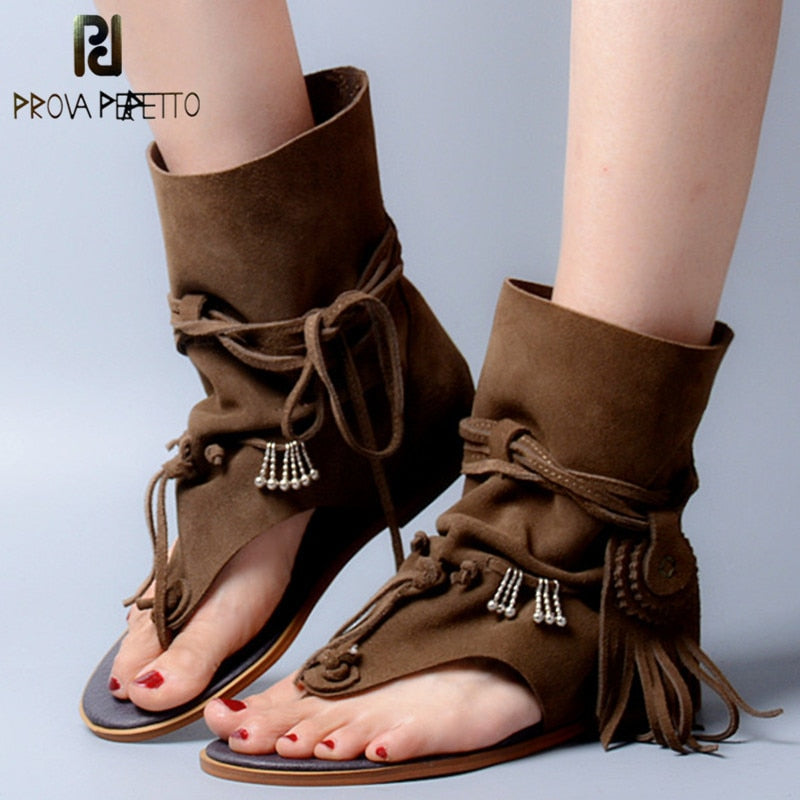 ba902dc20ae ... Style Tassels Ladies Ankle Boots Sandal Shoe Rome Thong. Hover to zoom