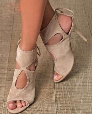New Fashion Stretch Suede Leather Women Peep Toe Sandals Cutout Style  Ladies Lace Up High Heels ... 1561ac09be4d